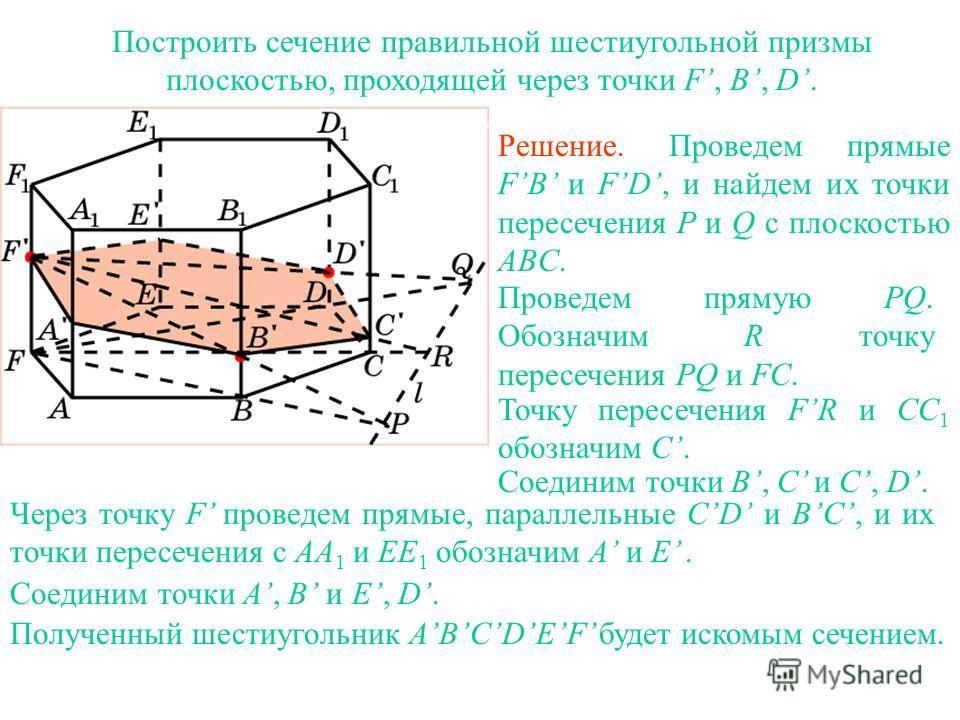Построить сечение правильной шестиугольной призмы плоскостью, проходящей через точки F, B, D. Решение. Проведем прямые FB и FD, и найдем их точки пересечения P и Q с плоскостью ABC. Проведем прямую PQ. Обозначим R точку пересечения PQ и FC. Точку пер