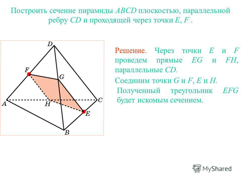 Построить сечение пирамиды ABCD плоскостью, параллельной ребру CD и проходящей через точки E, F. Решение. Через точки E и F проведем прямые EG и FH, параллельные CD. Соединим точки G и F, E и H. Полученный треугольник EFG будет искомым сечением. Упра