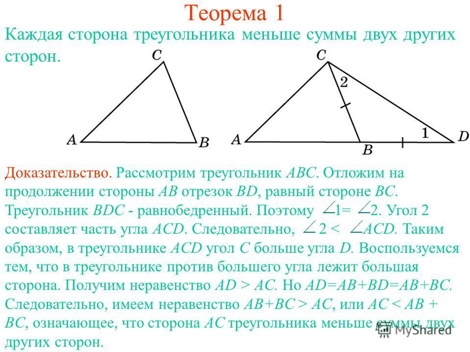 Теорема 1 Каждая сторона треугольника меньше суммы двух других сторон. Доказательство. Рассмотрим треугольник АВС. Отложим на продолжении стороны АВ отрезок ВD, равный стороне ВС. Треугольник ВDC - равнобедренный. Поэтому 1= 2. Угол 2 составляет част