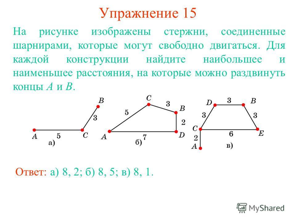 Упражнение 15 Ответ: а) 8, 2; б) 8, 5; в) 8, 1. На рисунке изображены стержни, соединенные шарнирами, которые могут свободно двигаться. Для каждой конструкции найдите наибольшее и наименьшее расстояния, на которые можно раздвинуть концы A и B.