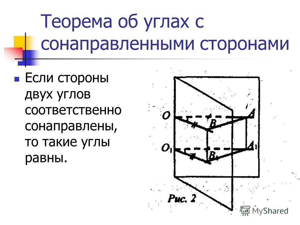 Теорема об углах с сонаправленными сторонами Если стороны двух углов соответственно сонаправлены, то такие углы равны.