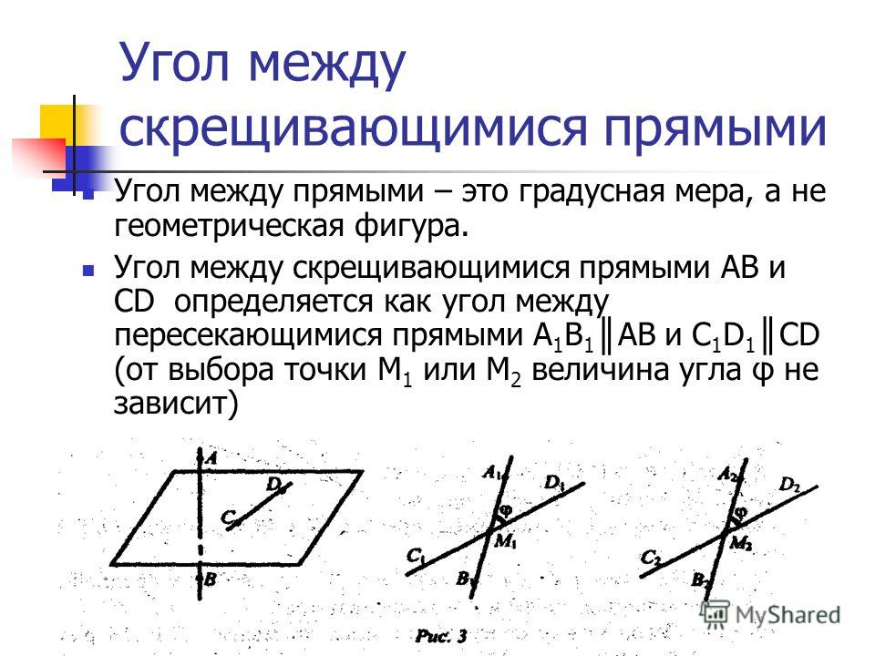 Угол между скрещивающимися прямыми Угол между прямыми – это градусная мера, а не геометрическая фигура. Угол между скрещивающимися прямыми АВ и CD определяется как угол между пересекающимися прямыми А 1 В 1 АВ и C 1 D 1 CD (от выбора точки М 1 или М