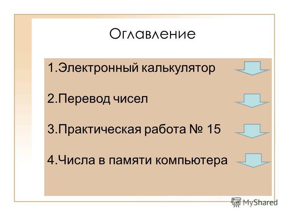 1.Электронный калькулятор 2.Перевод чисел 3.Практическая работа 15 4.Числа в памяти компьютера Оглавление