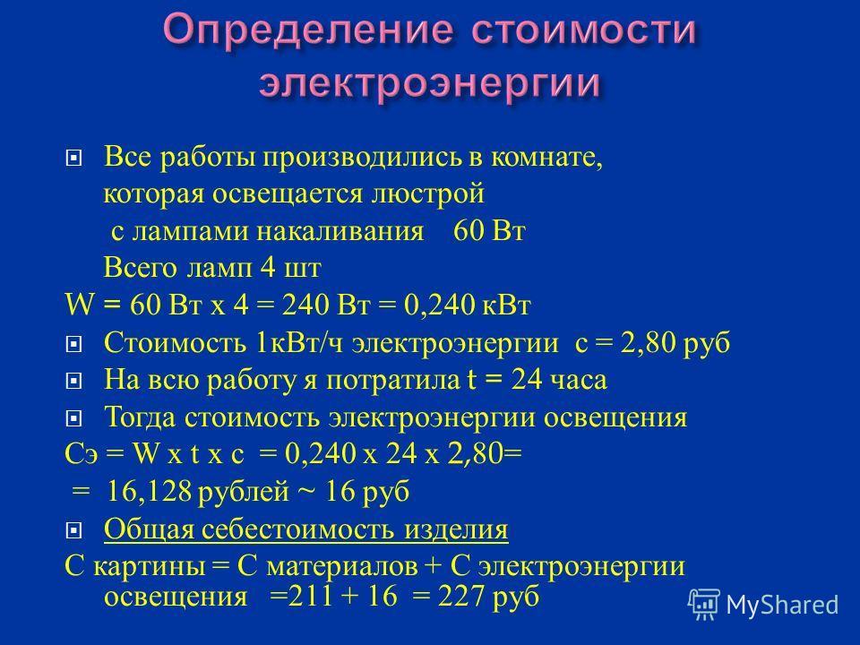 Наименование материалов Цена за единицу, руб. Расход материалов Затраты на материалы 1. Канва 180 руб./ м 20 см /20 см 36 руб. 2. Нитки - мулине 9 руб./8 м 10 мотков 90 руб. 3. Иглы б/уб/у 1 шт.- 4. Рамка 401 шт.40 руб. 5.Схема 251 шт.25 руб. 6.Пяльц