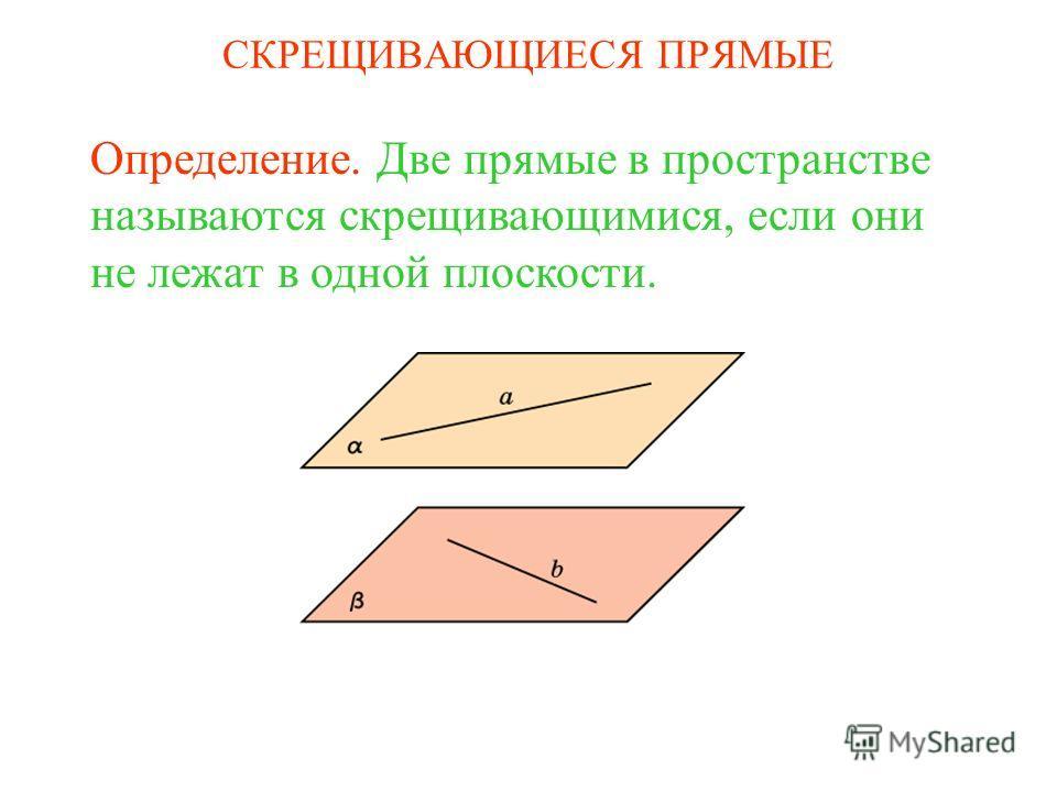 Определение. Две прямые в пространстве называются скрещивающимися, если они не лежат в одной плоскости. СКРЕЩИВАЮЩИЕСЯ ПРЯМЫЕ
