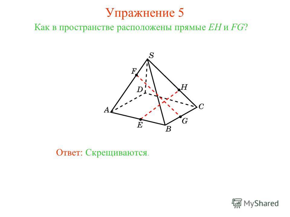 Ответ: Скрещиваются. Как в пространстве расположены прямые EH и FG? Упражнение 5