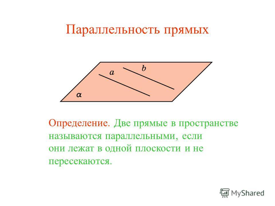 Определение. Две прямые в пространстве называются параллельными, если они лежат в одной плоскости и не пересекаются. Параллельность прямых