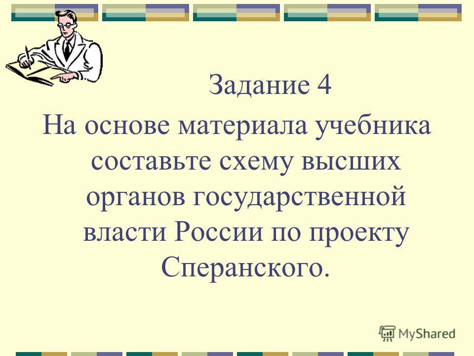 Задание 4 На основе материала учебника составьте схему высших органов государственной власти России по проекту Сперанского.
