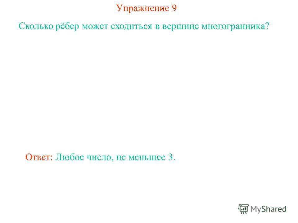 Упражнение 9 Сколько рёбер может сходиться в вершине многогранника? Ответ: Любое число, не меньшее 3.