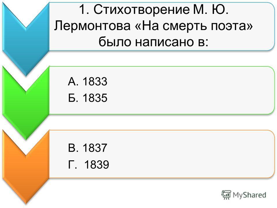 1. Стихотворение М. Ю. Лермонтова «На смерть поэта» было написано в: А. 1833 Б. 1835 В. 1837 Г. 1839