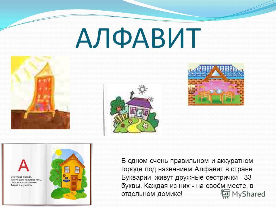 АЛФАВИТ В одном очень правильном и аккуратном городе под названием Алфавит в стране Букварии живут дружные сестрички - 33 буквы. Каждая из них - на своём месте, в отдельном домике!