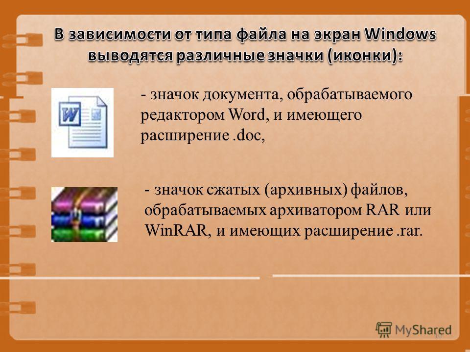 - значок документа, обрабатываемого редактором Word, и имеющего расширение.doc, 10 - значок сжатых (архивных) файлов, обрабатываемых архиватором RAR или WinRAR, и имеющих расширение.rar.
