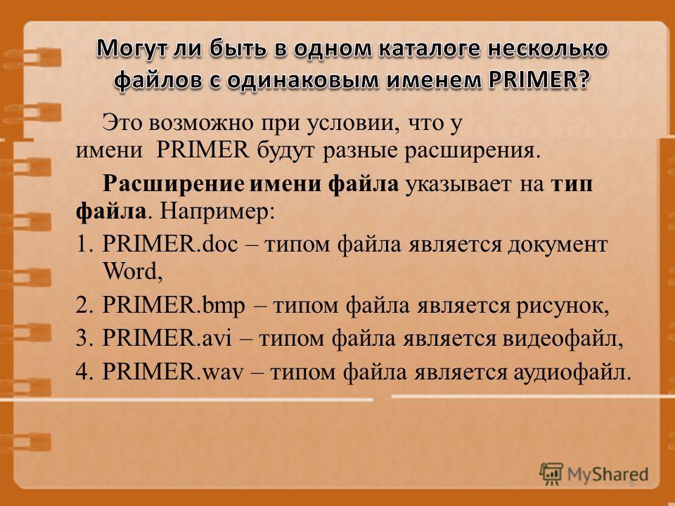 Это возможно при условии, что у имени PRIMER будут разные расширения. Расширение имени файла указывает на тип файла. Например: 1.PRIMER.doc – типом файла является документ Word, 2.PRIMER.bmp – типом файла является рисунок, 3.PRIMER.avi – типом файла