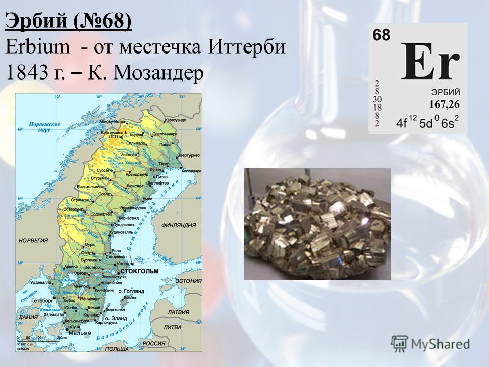 Эрбий (68) Erbium - от местечка Иттерби 1843 г. – К. Мозандер