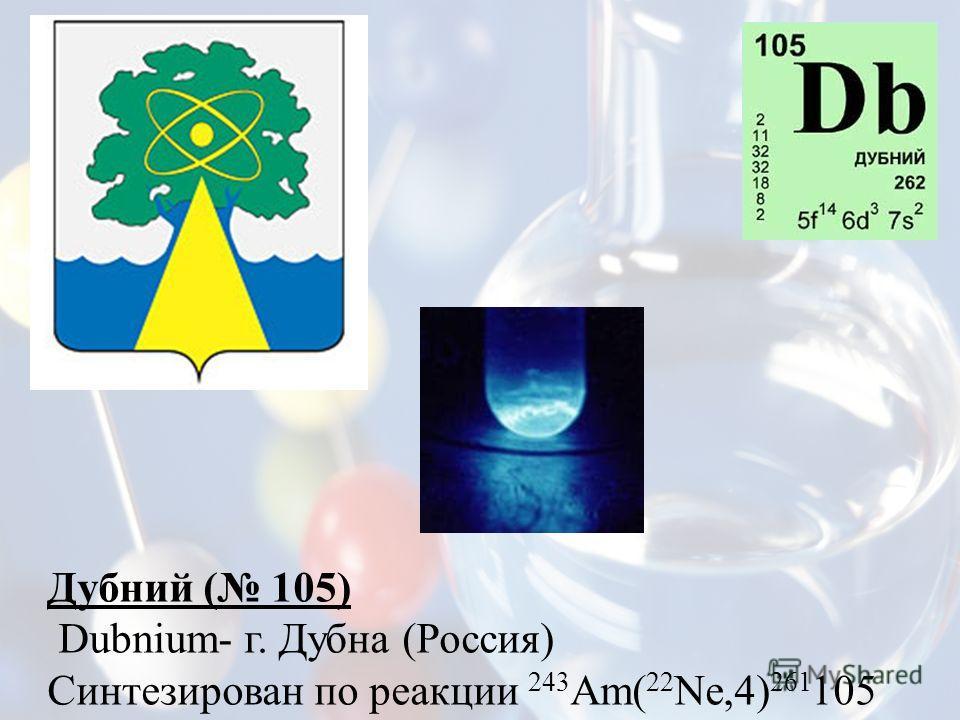 Дубний ( 105) Dubnium- г. Дубна (Россия) Синтезирован по реакции 243 Am( 22 Ne,4) 261 105