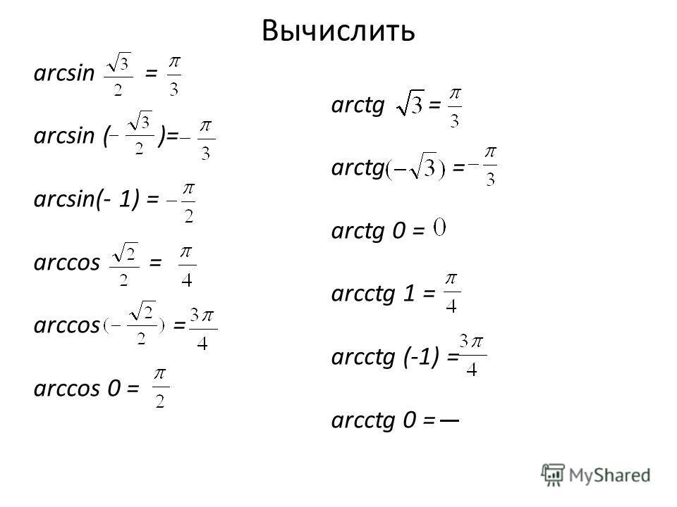 Вычислить arcsin = arcsin ( )= arcsin(- 1) = arccos = arccos 0 = arctg = arctg 0 = arcctg 1 = arcctg (-1) = arcctg 0 =