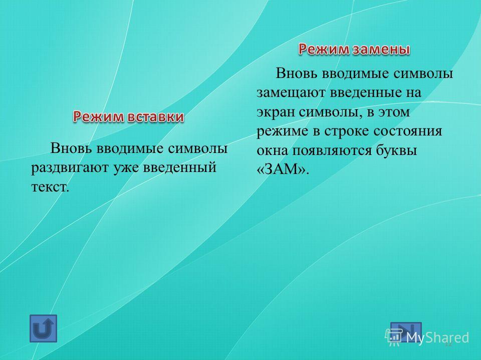 Вновь вводимые символы раздвигают уже введенный текст. Вновь вводимые символы замещают введенные на экран символы, в этом режиме в строке состояния окна появляются буквы «ЗАМ». 12