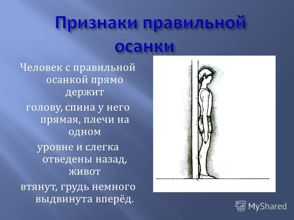 Человек с правильной осанкой прямо держит голову, спина у него прямая, плечи на одном уровне и слегка отведены назад, живот втянут, грудь немного выдвинута вперёд.