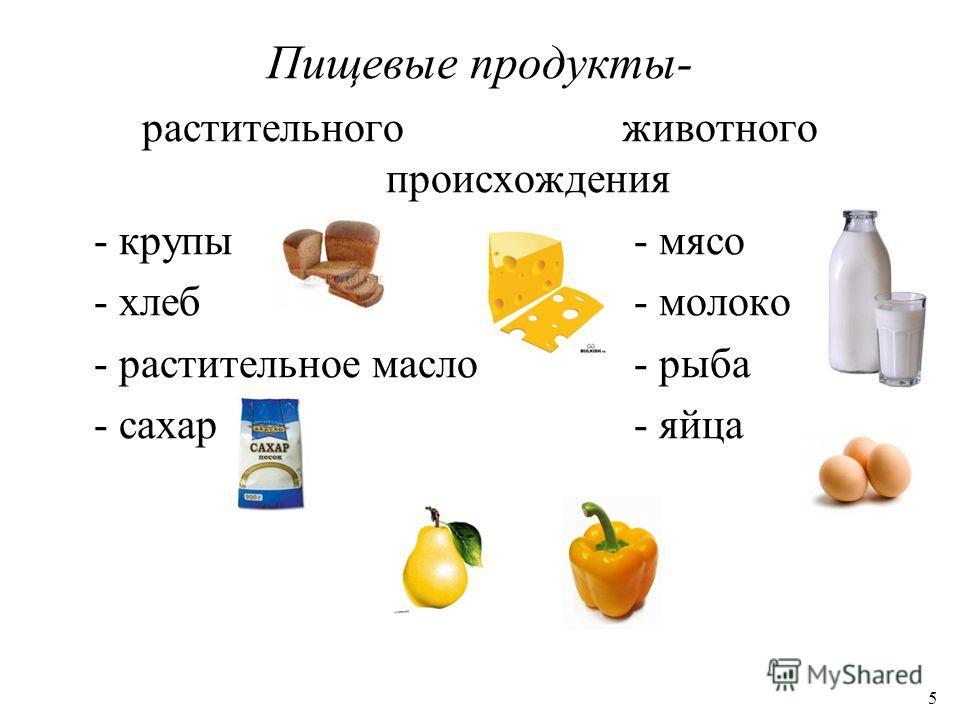 Пищевые продукты- растительного животного происхождения - крупы- мясо - хлеб- молоко - растительное масло- рыба - сахар - яйца 5