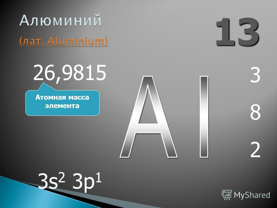 13 382382 26,9815 3s 2 3p 1 Атомная масса элемента