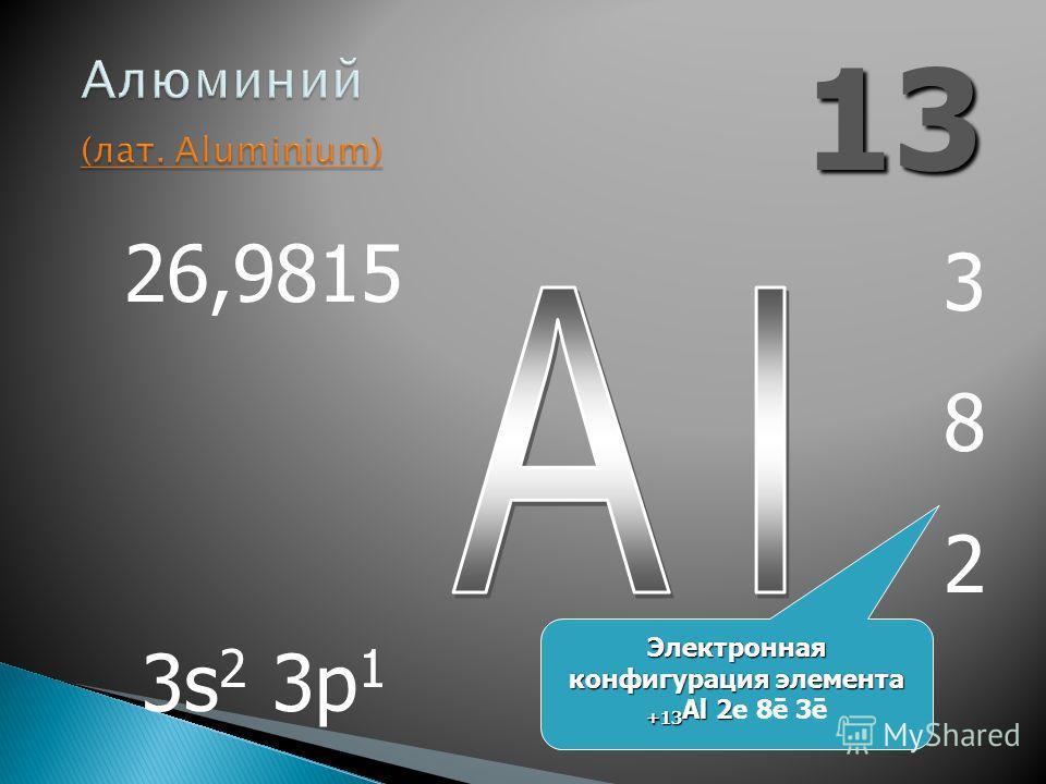 13 382382 26,9815 3s 2 3p 1 Электронная конфигурация элемента +13 Al 2 Электронная конфигурация элемента +13 Al 2е 8ē 3ē