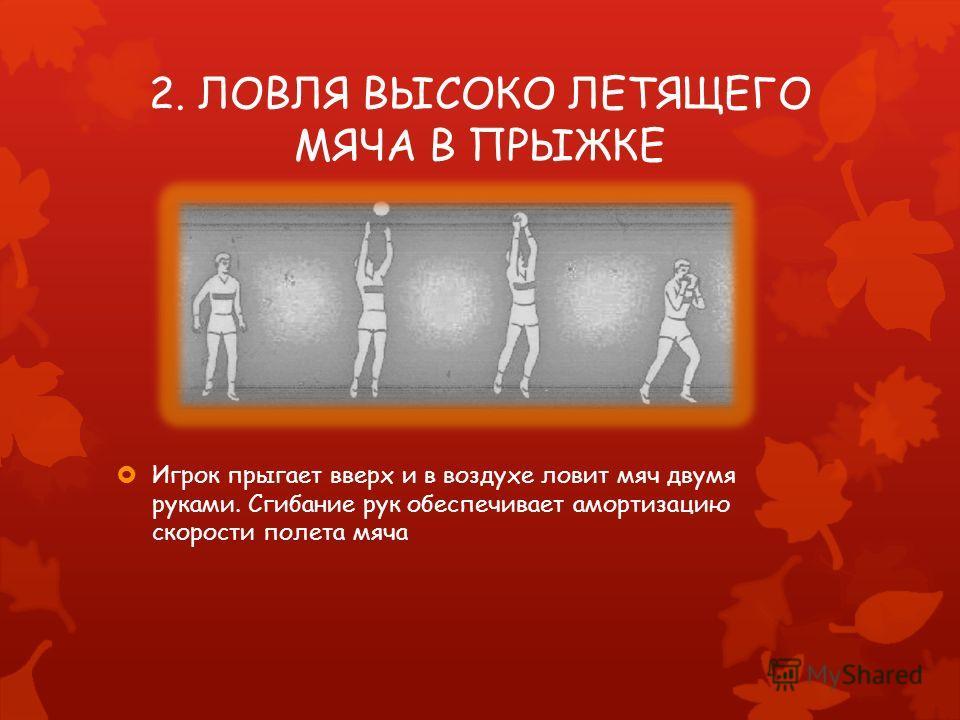 2. ЛОВЛЯ ВЫСОКО ЛЕТЯЩЕГО МЯЧА В ПРЫЖКЕ Игрок прыгает вверх и в воздухе ловит мяч двумя руками. Сгибание рук обеспечивает амортизацию скорости полета мяча