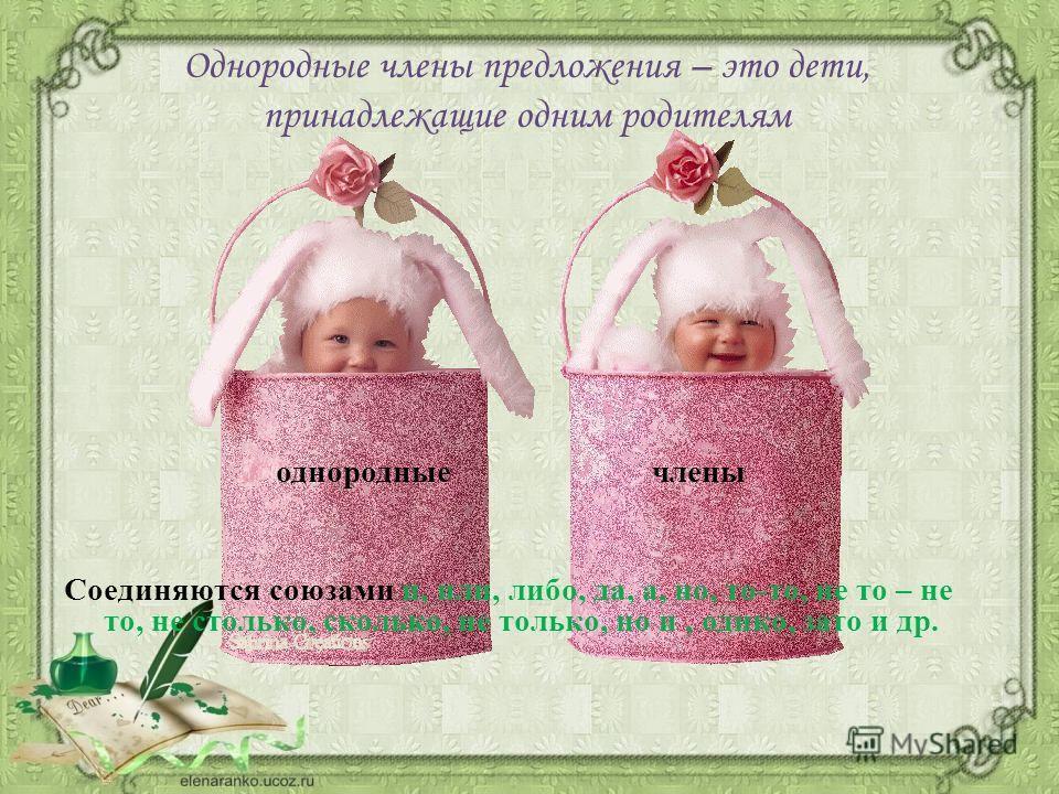 Однородные члены предложения – это дети, принадлежащие одним родителям однородные члены Соединяются союзами и, или, либо, да, а, но, то-то, не то – не то, не столько, сколько, не только, но и, однко, зато и др.
