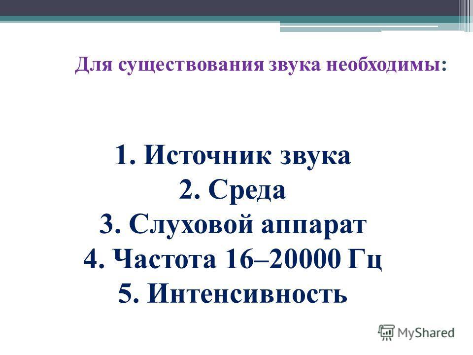 Для существования звука необходимы: 1. Источник звука 2. Среда 3. Слуховой аппарат 4. Частота 16–20000 Гц 5. Интенсивность