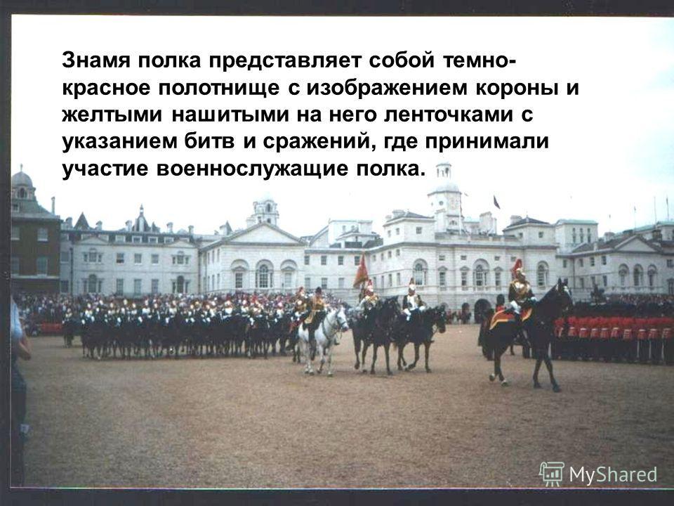 Знамя полка представляет собой темно- красное полотнище с изображением короны и желтыми нашитыми на него ленточками с указанием битв и сражений, где принимали участие военнослужащие полка.