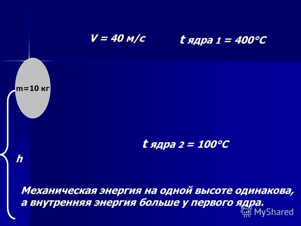 m=10 кг V = 40 м/с t ядра 1 = 400°C t ядра 2 = 100°C Механическая энергия на одной высоте одинакова, а внутренняя энергия больше у первого ядра. h