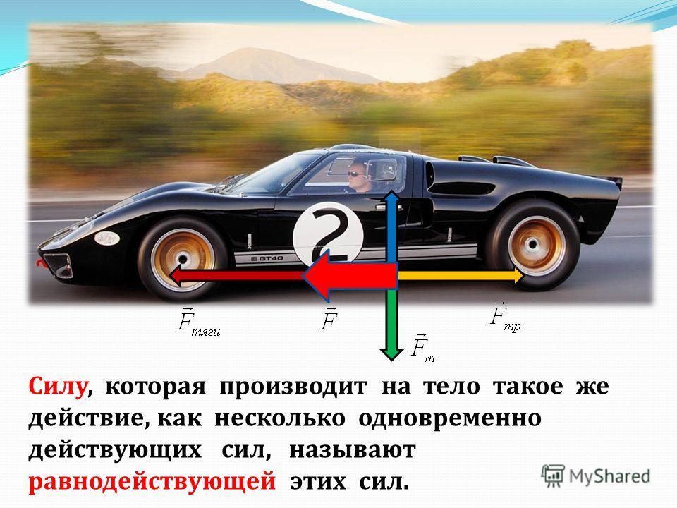 Силу, которая производит на тело такое же действие, как несколько одновременно действующих сил, называют равнодействующей этих сил.
