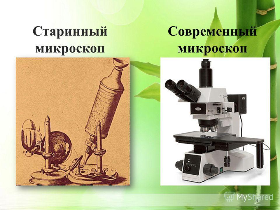 4 Старинный микроскоп Современный микроскоп