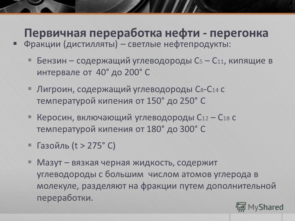 Первичная переработка нефти - перегонка Фракции (дистилляты) – светлые нефтепродукты: Бензин – содержащий углеводороды С 5 – С 11, кипящие в интервале от 40° до 200° С Лигроин, содержащий углеводороды С 8 -С 14 с температурой кипения от 150° до 250°