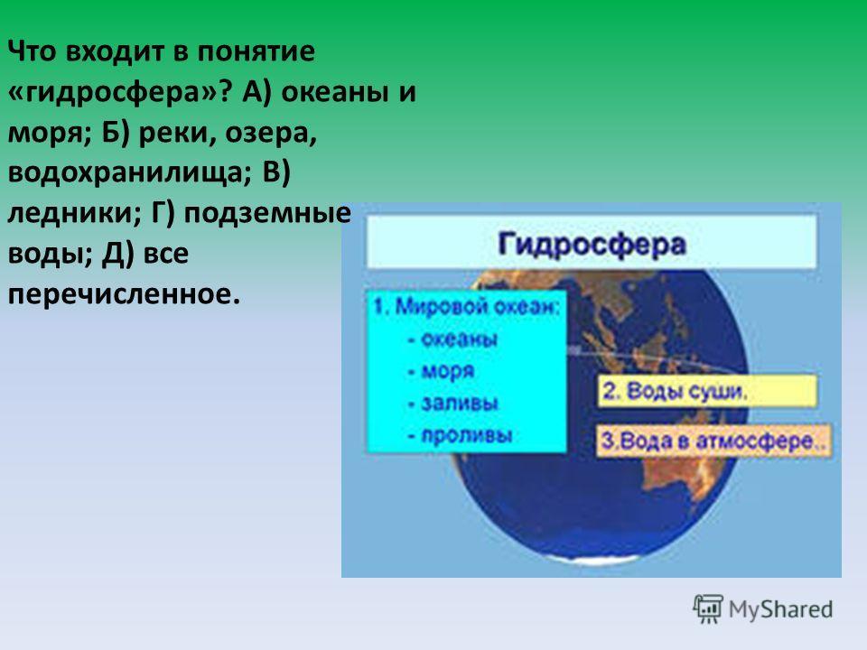 Что входит в понятие «гидросфера»? А) океаны и моря; Б) реки, озера, водохранилища; В) ледники; Г) подземные воды; Д) все перечисленное.