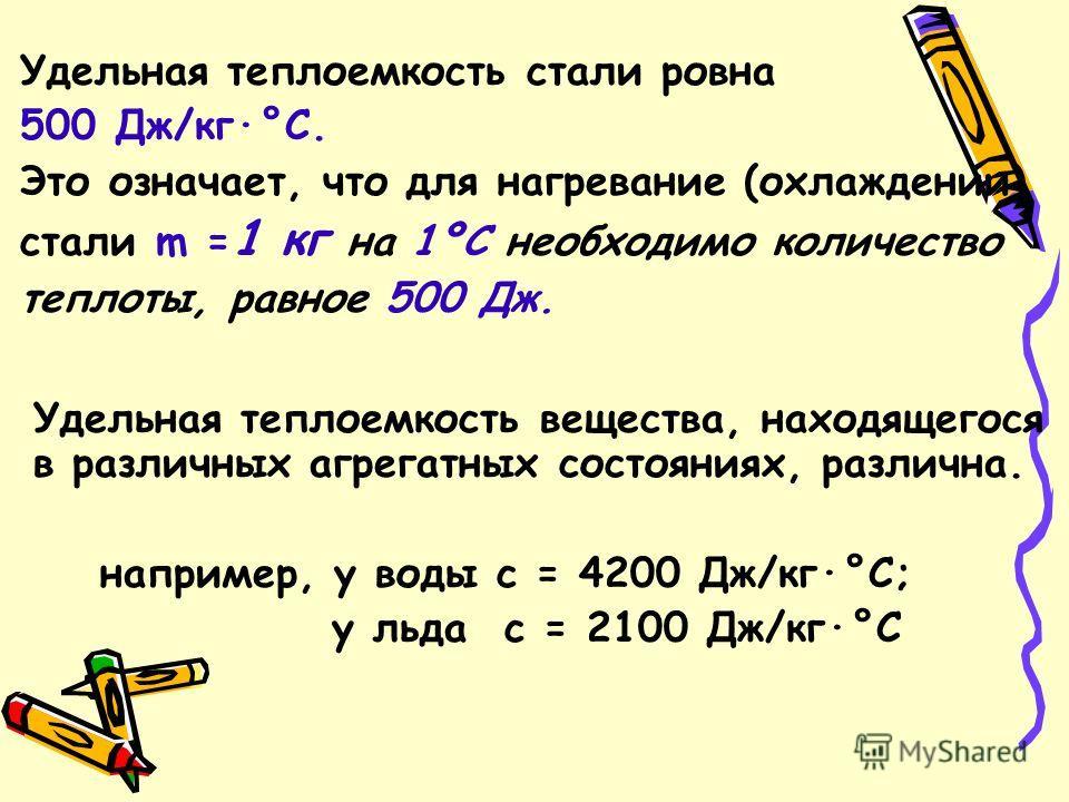 Удельная теплоемкость стали ровна 500 Дж/кг·°С. Это означает, что для нагревание (охлаждении) стали m = 1 кг на 1ºС необходимо количество теплоты, равное 500 Дж. Удельная теплоемкость вещества, находящегося в различных агрегатных состояниях, различна