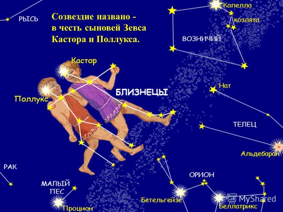 Созвездие названо - в честь сыновей Зевса Кастора и Поллукса.