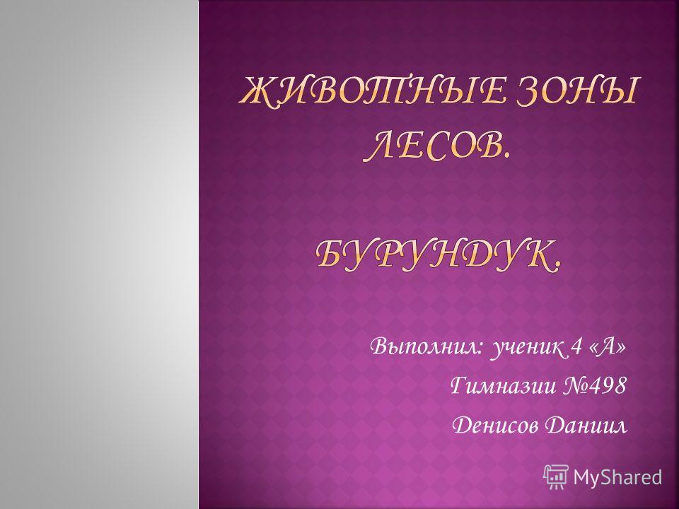 Выполнил: ученик 4 «А» Гимназии 498 Денисов Даниил