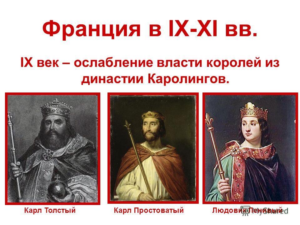 Франция в IX-XI вв. IX век – ослабление власти королей из династии Каролингов. Карл ТолстыйКарл ПростоватыйЛюдовик Ленивый