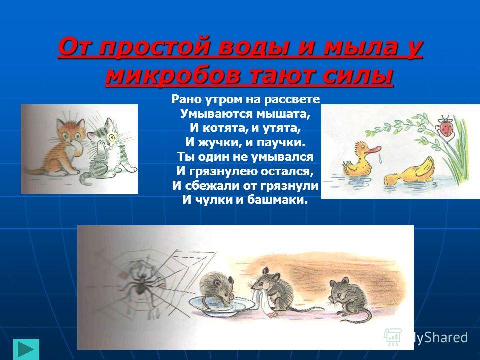 От простой воды и мыла у микробов тают силы Рано утром на рассвете Умываются мышата, И котята, и утята, И жучки, и паучки. Ты один не умывался И грязнулею остался, И сбежали от грязнули И чулки и башмаки.