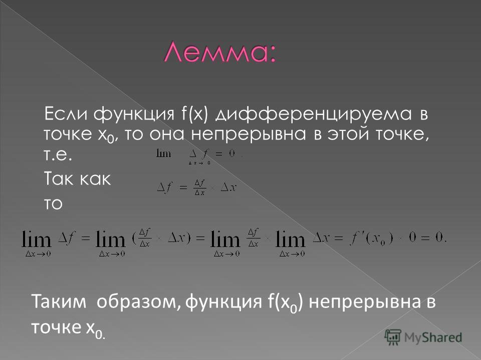 Если функция f(x) дифференцируема в точке x 0, то она непрерывна в этой точке, т.е. Так как то Таким образом, функция f(x 0 ) непрерывна в точке x 0.