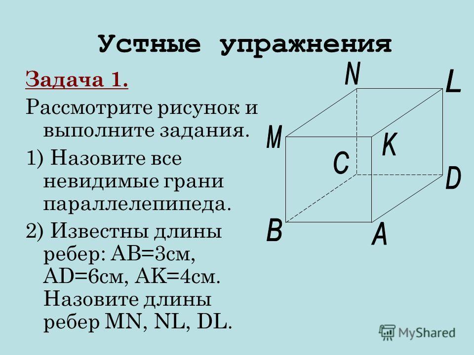 Задача 1. Рассмотрите рисунок и выполните задания. 1) Назовите все невидимые грани параллелепипеда. 2) Известны длины ребер: AB=3см, AD=6см, AK=4см. Назовите длины ребер MN, NL, DL. Устные упражнения