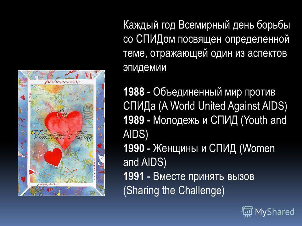 Каждый год Всемирный день борьбы со СПИДом посвящен определенной теме, отражающей один из аспектов эпидемии 1988 - Объединенный мир против СПИДа (A World United Against AIDS) 1989 - Молодежь и СПИД (Youth and AIDS) 1990 - Женщины и СПИД (Women and AI