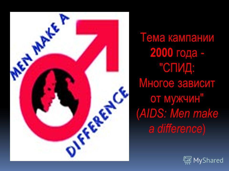 Тема кампании 2000 года - СПИД: Многое зависит от мужчин ( AIDS: Men make a difference )