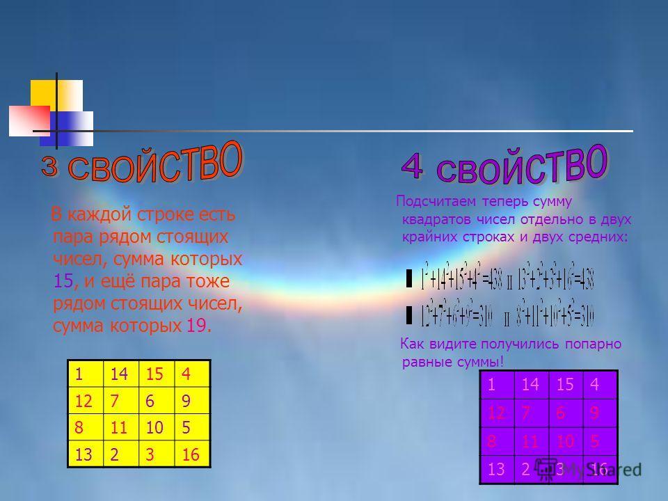 В каждой строке есть пара рядом стоящих чисел, сумма которых 15, и ещё пара тоже рядом стоящих чисел, сумма которых 19. 114154 12769 811105 132316 Подсчитаем теперь сумму квадратов чисел отдельно в двух крайних строках и двух средних: Как видите полу