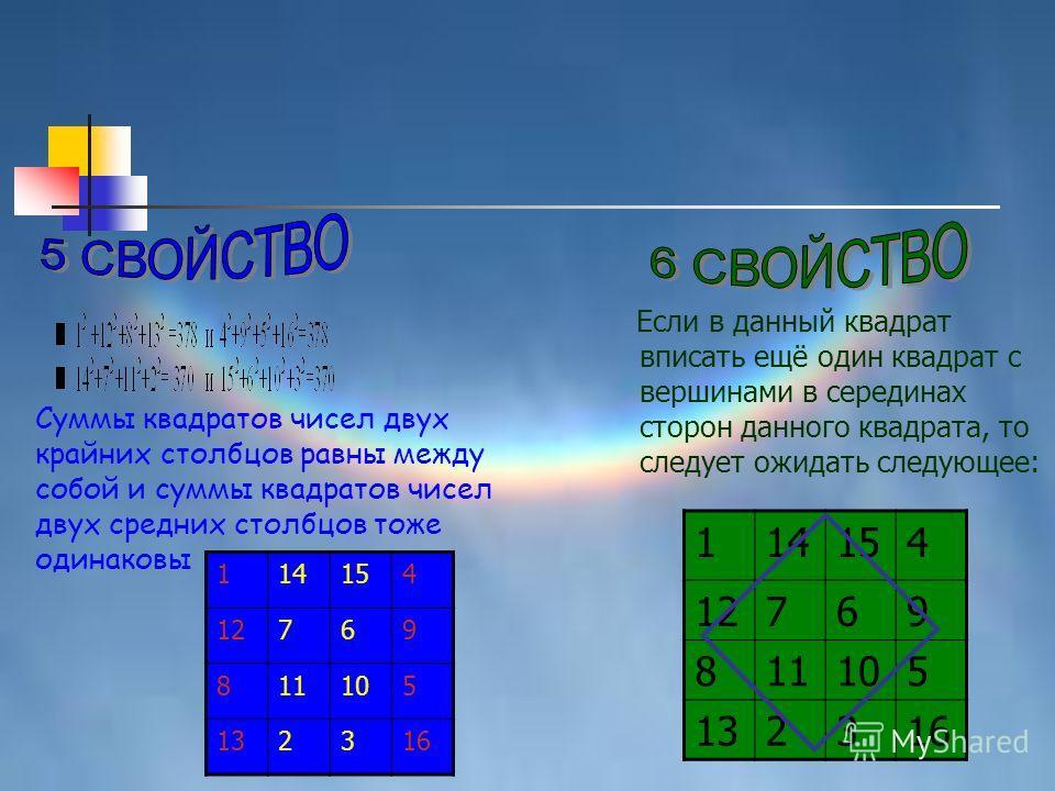 114154 12769 811105 132316 Суммы квадратов чисел двух крайних столбцов равны между собой и суммы квадратов чисел двух средних столбцов тоже одинаковы Если в данный квадрат вписать ещё один квадрат с вершинами в серединах сторон данного квадрата, то с