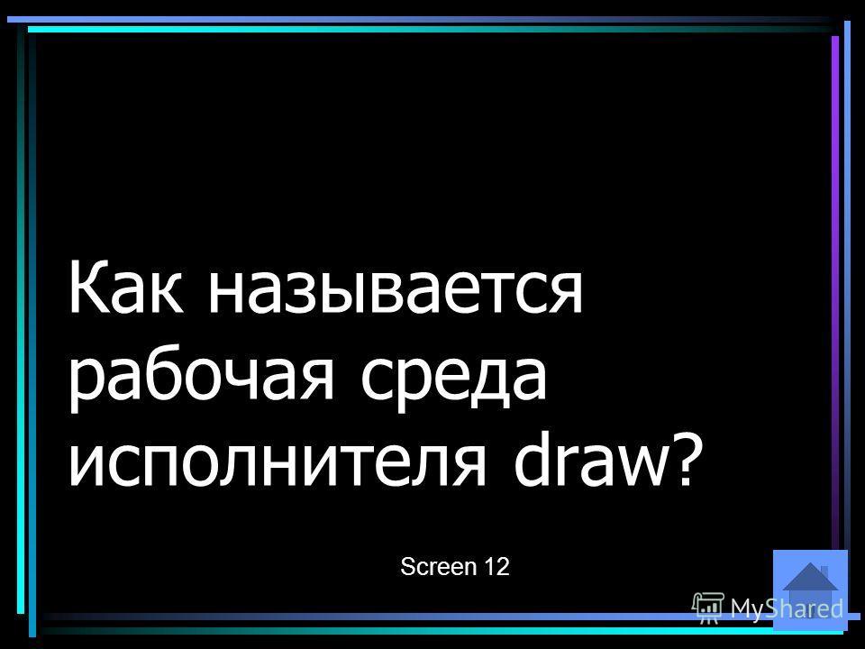 Как называется рабочая среда исполнителя draw? Screen 12