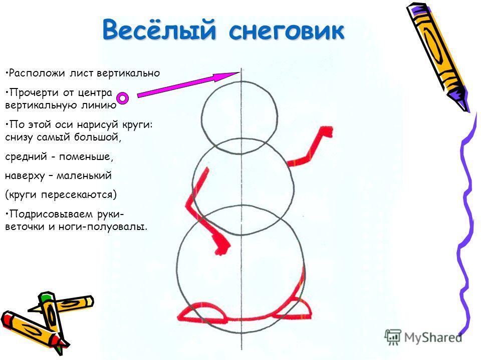 Весёлый снеговик Расположи лист вертикально Прочерти от центра вертикальную линию По этой оси нарисуй круги: снизу самый большой, средний - поменьше, наверху – маленький (круги пересекаются) Подрисовываем руки- веточки и ноги-полуовалы.