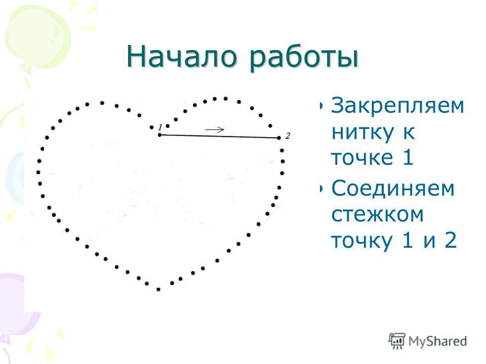 Начало работы Закрепляем нитку к точке 1 Соединяем стежком точку 1 и 2