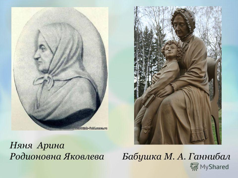 Няня Арина Родионовна Яковлева Бабушка М. А. Ганнибал