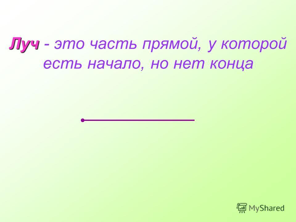 Луч Луч - это часть прямой, у которой есть начало, но нет конца